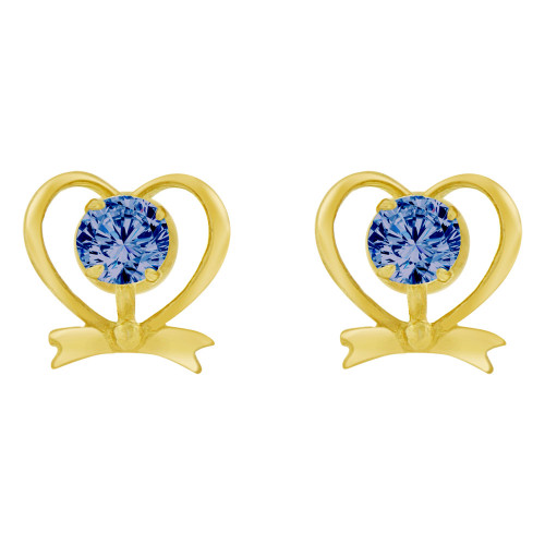 14k Yellow Gold, Mini Heart Stud Screw Back Earring Blue Sep Created CZ (E104-119)