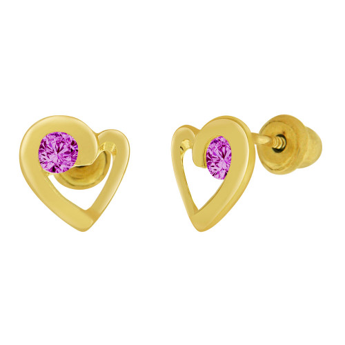 14k Yellow Gold, Mini Heart Stud Screw Back Earring Purple Feb Created CZ (E104-202)