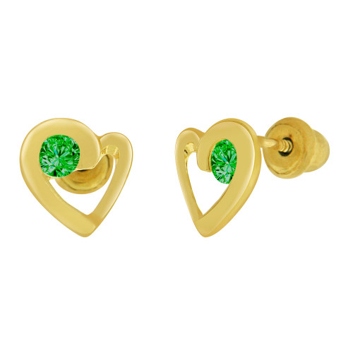 14k Yellow Gold, Mini Heart Stud Screw Back Earring Green May Created CZ (E104-205)