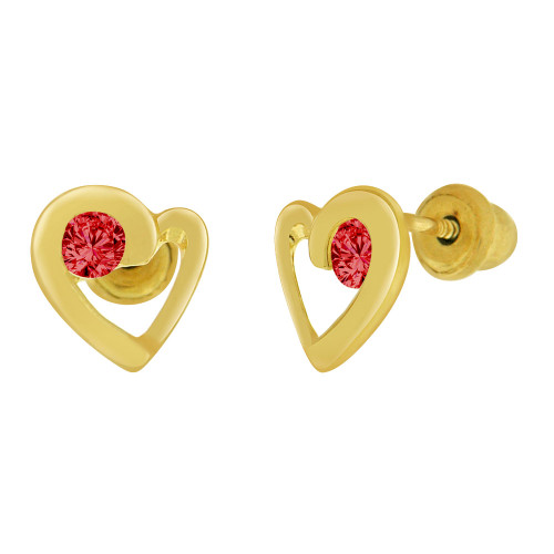 14k Yellow Gold, Mini Heart Stud Screw Back Earring Red Jul Created CZ (E104-207)