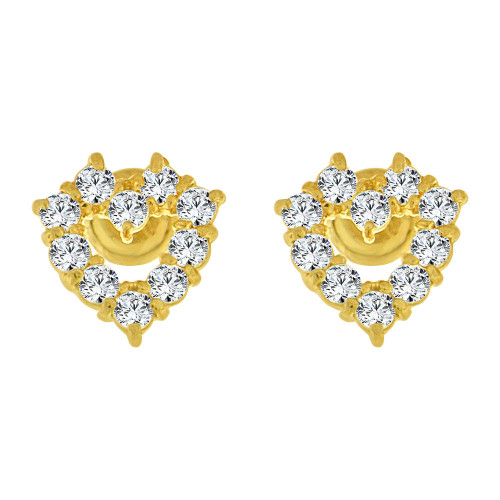 14k Yellow Gold, Mini Heart Stud Screw Back Earring Created CZ (E104-504)