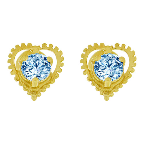 14k Yellow Gold, Mini Heart Stud Screw Back Earring Aqua Blue Mar Created CZ (E104-603)