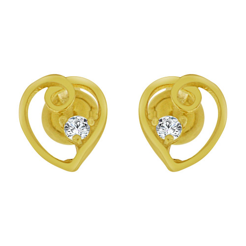 14k Yellow Gold, Mini Heart Stud Screw Back Earring Created CZ (E104-704)