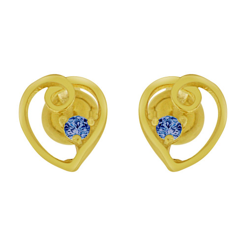 14k Yellow Gold, Mini Heart Stud Screw Back Earring Blue Sep Created CZ (E104-709)