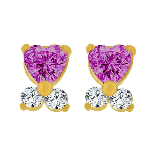 14k Yellow Gold, Mini Baby Heart Stud Screw Back Earring Purple Created CZ (E104-802)