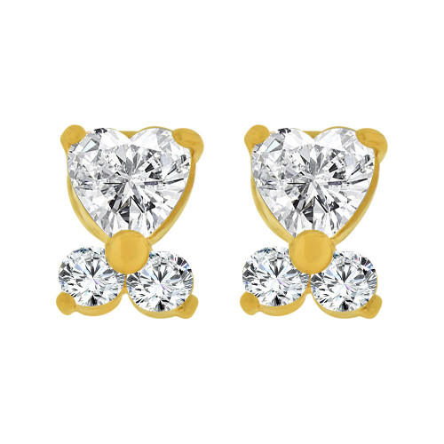 14k Yellow Gold, Mini Baby Heart Stud Screw Back Earring Created CZ (E104-804)
