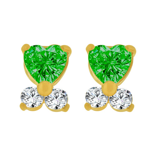 14k Yellow Gold, Mini Baby Heart Stud Screw Back Earring Green May Created CZ (E104-805)