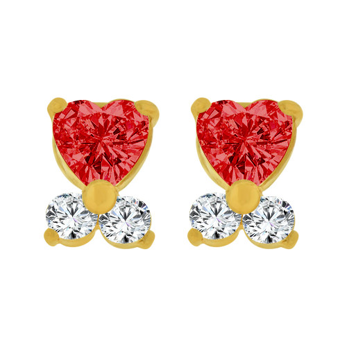 14k Yellow Gold, Mini Baby Heart Stud Screw Back Earring Red Jul Created CZ (E104-807)
