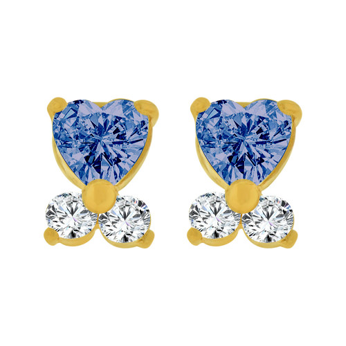 14k Yellow Gold, Mini Baby Heart Stud Screw Back Earring Blue Sep Created CZ (E104-809)