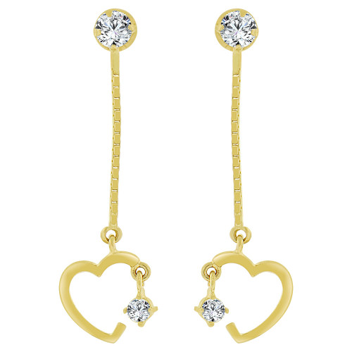14k Yellow Gold, Heart Small Size Dangling Created CZ Earring Screw Back (E105-004)
