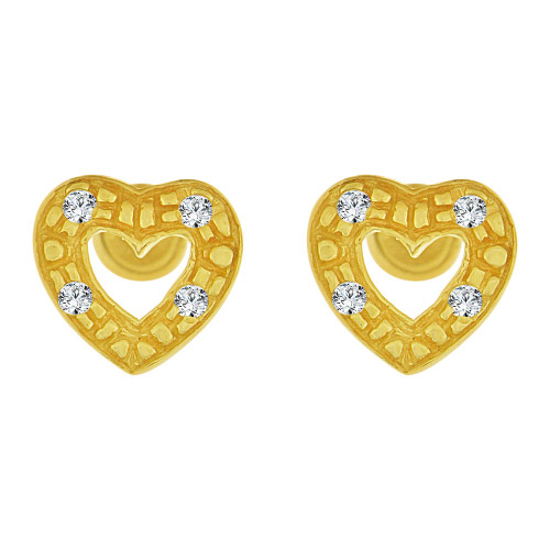 14k Yellow Gold, Mini Size Heart Stud Screw Back Earring Created CZ (E105-005)