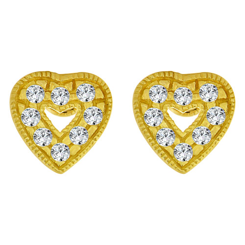 14k Yellow Gold, Small Heart Stud Earring Screw Back Lab Created CZ (E105-007)