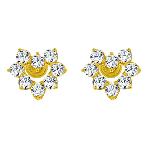 14k Yellow Gold, Mini Size Heart Stud Earring Screw Back Lab Created CZ (E105-009)