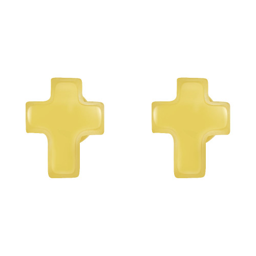 14k Yellow Gold, Mini Size Cross Religious Screw Back Stud Earring (E105-014)