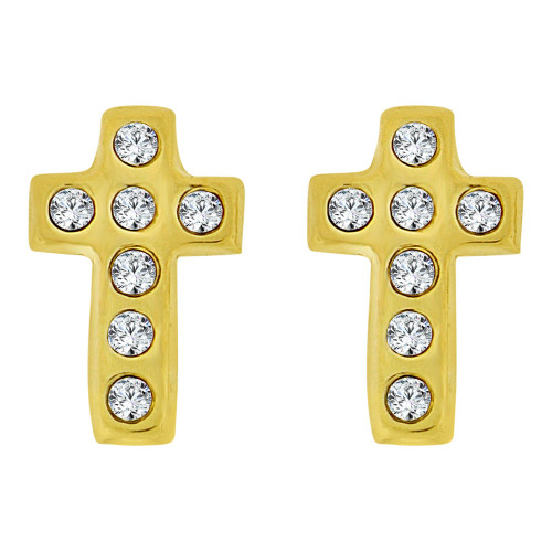 14k Yellow Gold, Mini Size Cross Religious Screw Back Stud Earring Created CZ (E105-015)