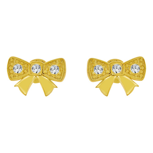 14k Yellow Gold, Small Size Bow Screw Back Stud Earring Created CZ (E105-016)