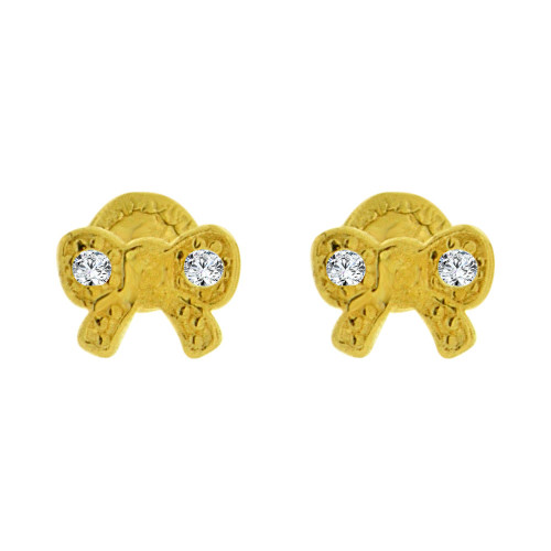 14k Yellow Gold, Tiny Mini Size Bow Screw Back Stud Earring Created CZ (E105-017)