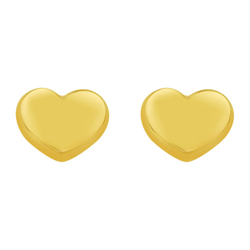 14k Yellow Gold, Mini Size Heart Screw Back Stud Earring (E105-018)