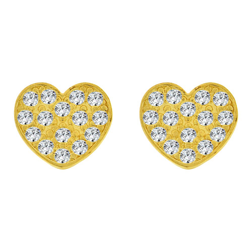 14k Yellow Gold, Small Size Heart Screw Back Stud Earring Created CZ (E105-019)