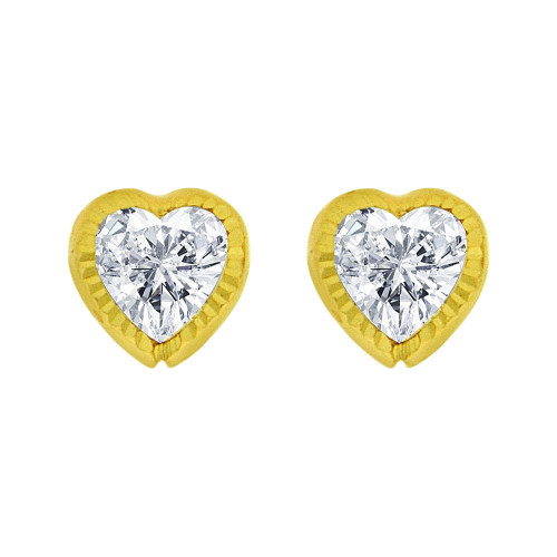 14k Yellow Gold, Mini Size Heart Facetted Bezel Created CZ Screw Back Stud Earring (E105-020)