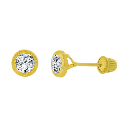 14k Yellow Gold, Small Round Facetted Bezel Created CZ Screw Back 4mm Stud Earring (E105-021)