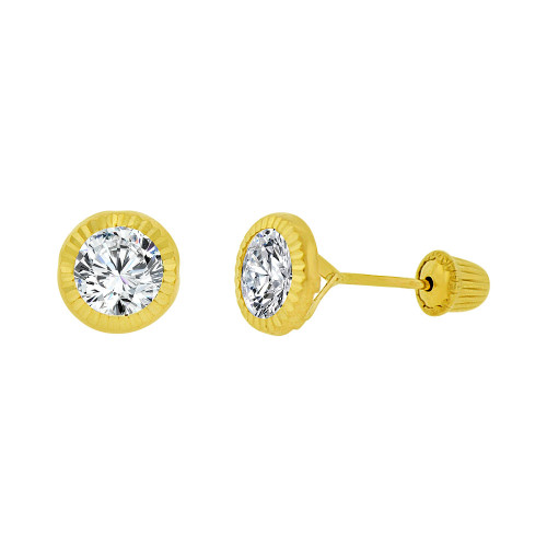 14k Yellow Gold, Round Facetted Bezel Created CZ Screw Back 5mm Stud Earring (E105-022)