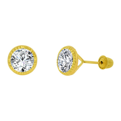 14k Yellow Gold, Round Facetted Bezel Created CZ Screw Back 6mm Stud Earring (E105-023)