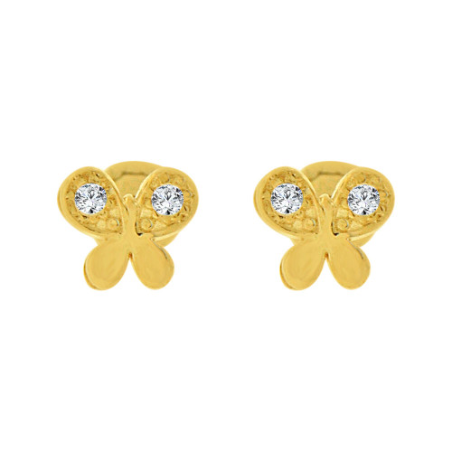 14k Yellow Gold, Tiny Mini Size Butterfly Screw Back Stud Earring Created CZ (E105-024)
