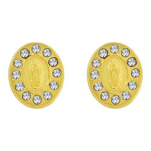 14k Yellow Gold, Small Size Virgin Mary Stud Screw Back Earring Created CZ (E105-025)
