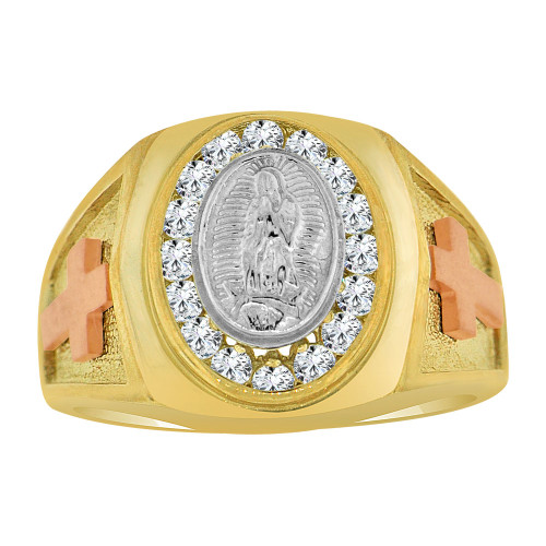 14k Tricolor Gold, Religious Virgin Mary Fancy Gent Ring Created CZ Crystals (R500-002)