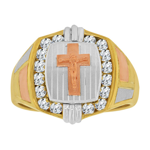 14k Tricolor Gold, Religious Crucifix Fancy Gent Ring Created CZ Crystals (R500-004)