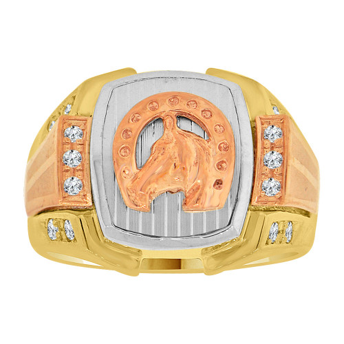 14k Tricolor Gold, Lucky Horse Shoe Fancy Gent Ring Created CZ Crystals (R500-006)