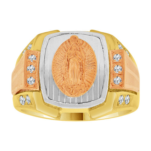 14k Tricolor Gold, Religious Virgin Mary Fancy Gent Ring Created CZ Crystals (R500-007)