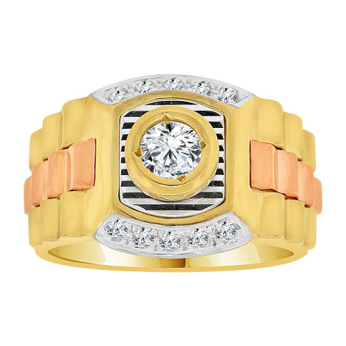 14k Tricolor Gold, Gent Signet Fancy Ring Link Design Created CZ Crystals (R500-008)