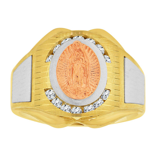 14k Tricolor Gold, Religious Virgin Mary Fancy Gent Ring Created CZ Crystals (R500-010)