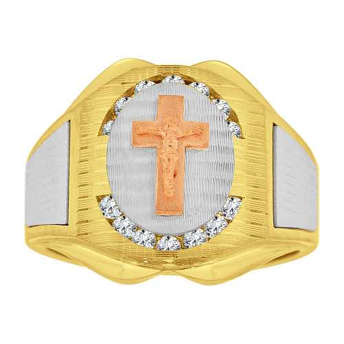 14k Tricolor Gold, Religious Crucifix Fancy Gent Ring Created CZ Crystals (R500-011)
