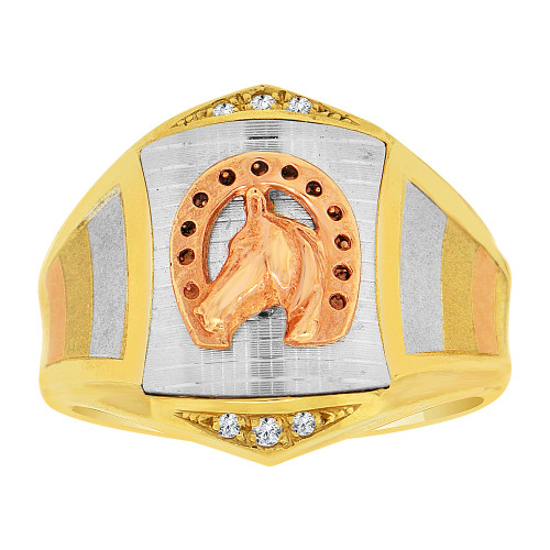 14k Tricolor Gold, Lucky Horse Shoe Fancy Gent Ring Created CZ Crystals (R500-015)