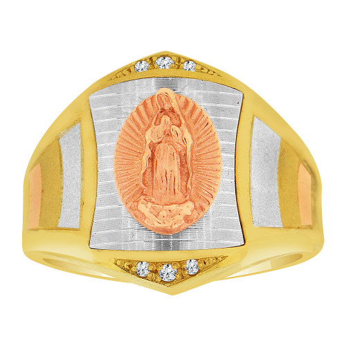 14k Tricolor Gold, Religious Virgin Mary Fancy Gent Ring Created CZ Crystals (R500-016)