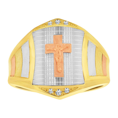 14k Tricolor Gold, Religious Crucifix Fancy Gent Ring Created CZ Crystals (R500-017)