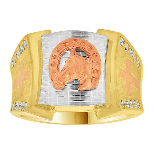 14k Tricolor Gold, Lucky Horse Shoe Fancy Gent Ring Created CZ Crystals (R500-020)
