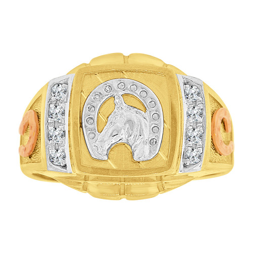 14k Tricolor Gold, Lucky Horse Shoe Fancy Gent Ring Created CZ Crystals (R500-021)