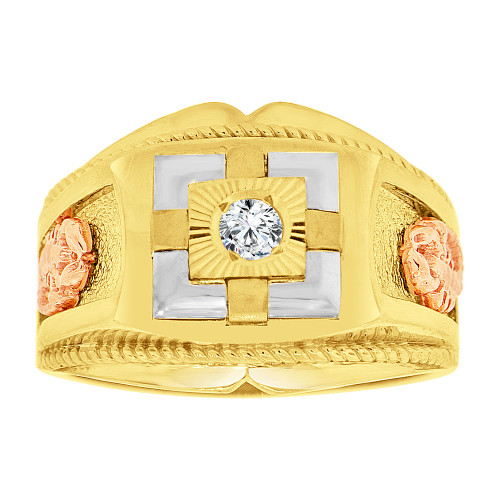 14k Tricolor Gold, Gent Signet Fancy Ring Scorpion Created CZ Crystal (R500-023)