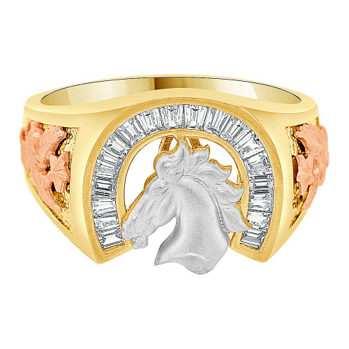 14k Tricolor Gold, Good Luck Western Horse Shoe Gent Ring Created CZ (R500-028)