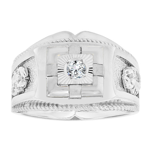 14k Gold White Rhodium, Gent Fancy Signet Ring Scorpion Sides Created CZ Crystal (R500-073)