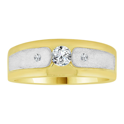 14k Yellow Gold White Rhodium, Fancy Band Ring Men Guy Gent Created CZ (R501-008)