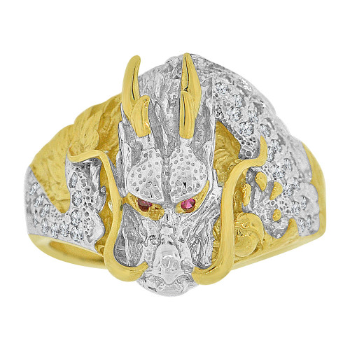 14k Yellow Gold White Rhodium, Fancy Asian Chinese Dragon Ring Men Guy Gent Created CZ (R501-010)