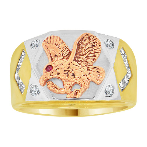 14k Tricolor Gold, Fancy Eagle Signet Ring Men Guy Gent Created CZ (R501-011)