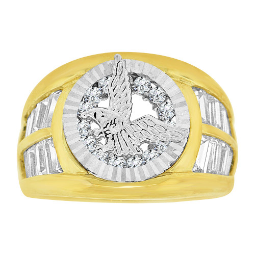 14k Yellow and White Gold, Fancy Bezel Eagle Ring Men Guy Gent Created CZ (R501-012)