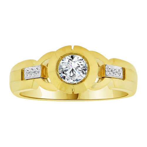 14k Yellow Gold, Fancy Modern Design Band Ring Men Guy Gent Created CZ (R501-018)