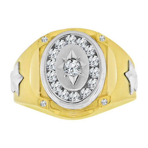 14k Yellow and White Gold, Fancy Ring Men Guy Gent Created CZ Stars  (R501-021)
